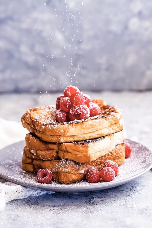 Raspberry Mascarpone Stuffed French Toast